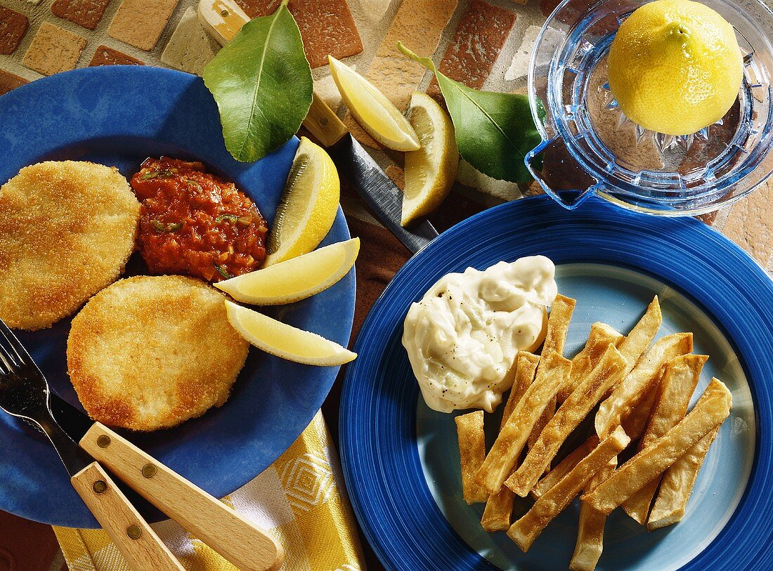 Fried celery with peanut crust and swede chips