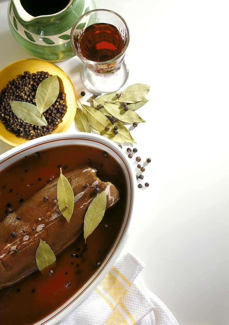 Saddle of venison with red wine, bay leaves & juniper berries