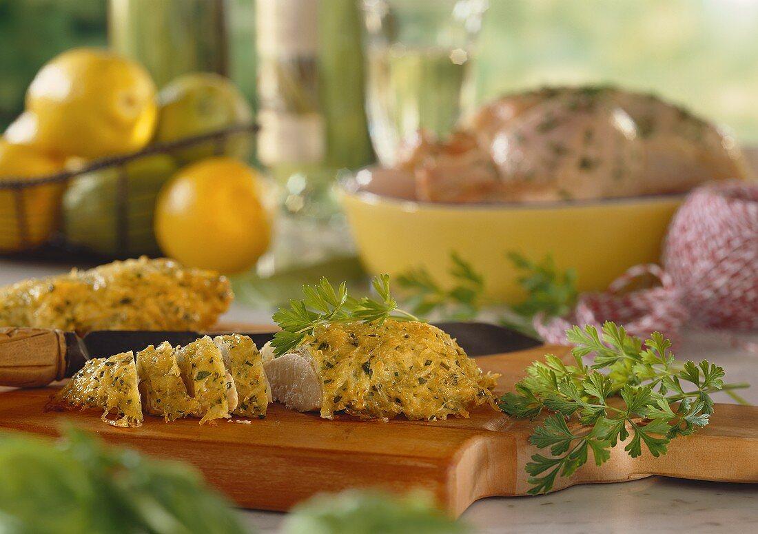 Chicken breast fillets under potato & herb crust