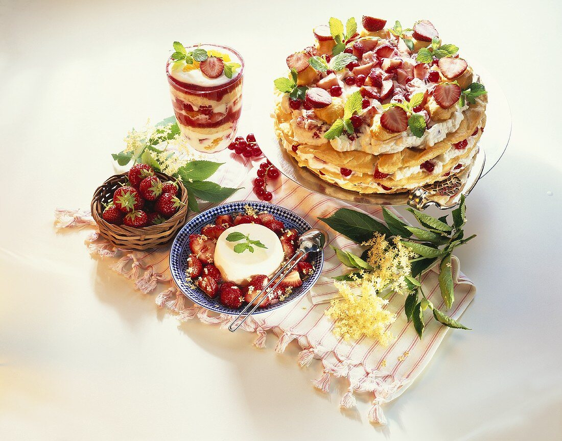 Strawberry trifle, layered strawberry cake, elderflower mousse