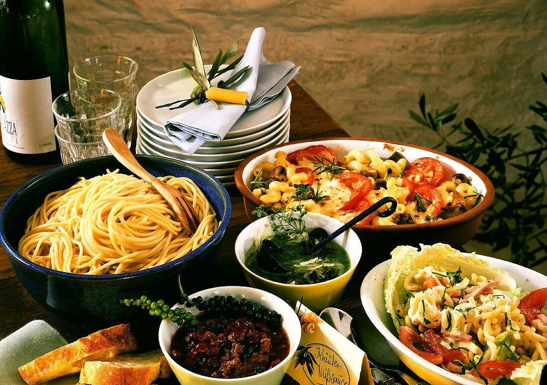 Pasta dishes e.g. elbow pasta salad, pasta bake, spaghetti