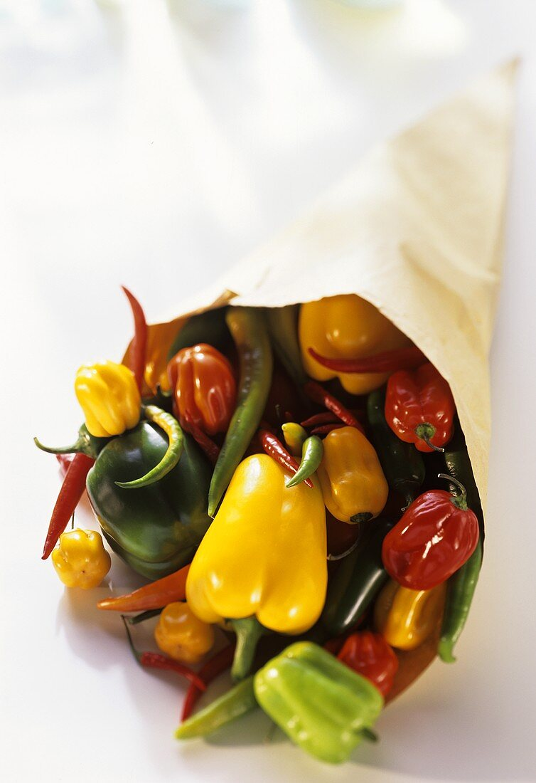 Various types of peppers and chili peppers in paper bag