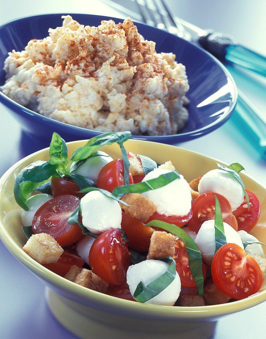 Mozzarella with tomatoes & basil; cheese spread (Obatzter)
