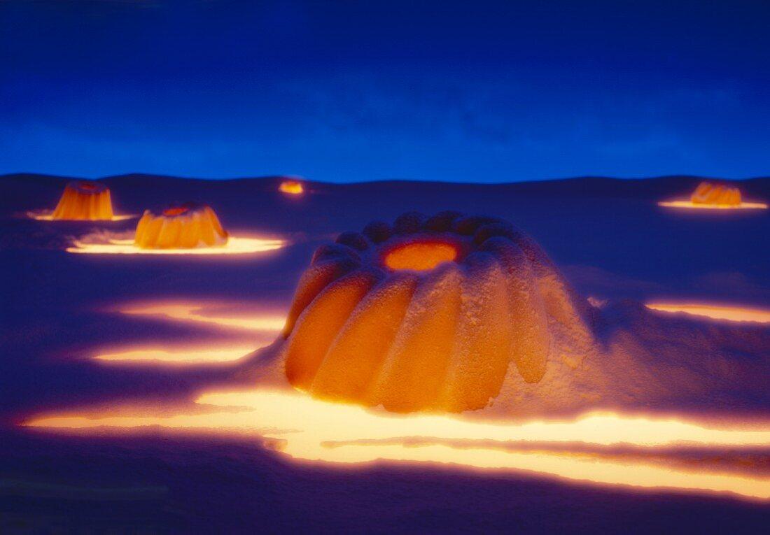 Fruit cake in fiery lava landscape