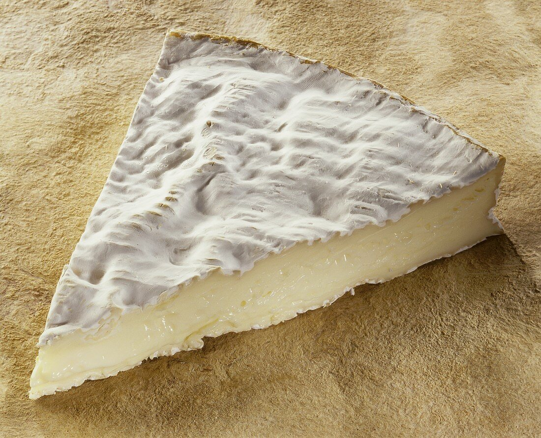 A piece of Brie de Meaux on brown background
