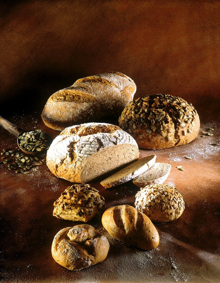 Various wholemeal breads, pumpkin seed bread and rolls