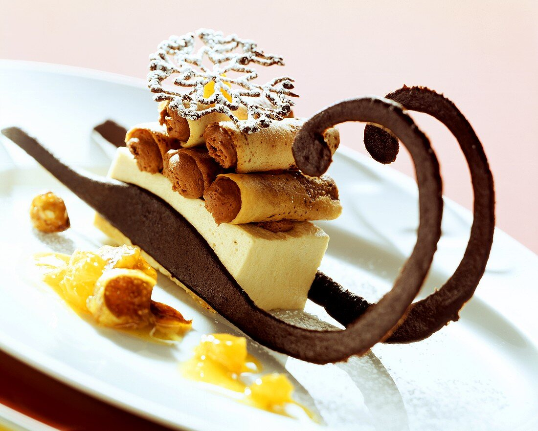 Sleigh with bergamot parfait and filled tree trunks