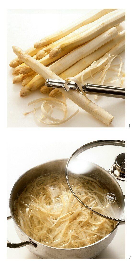 Peeling white asparagus and cooking asparagus peelings