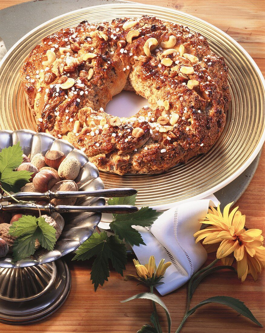 Nut wreath with granulated sugar on large plate