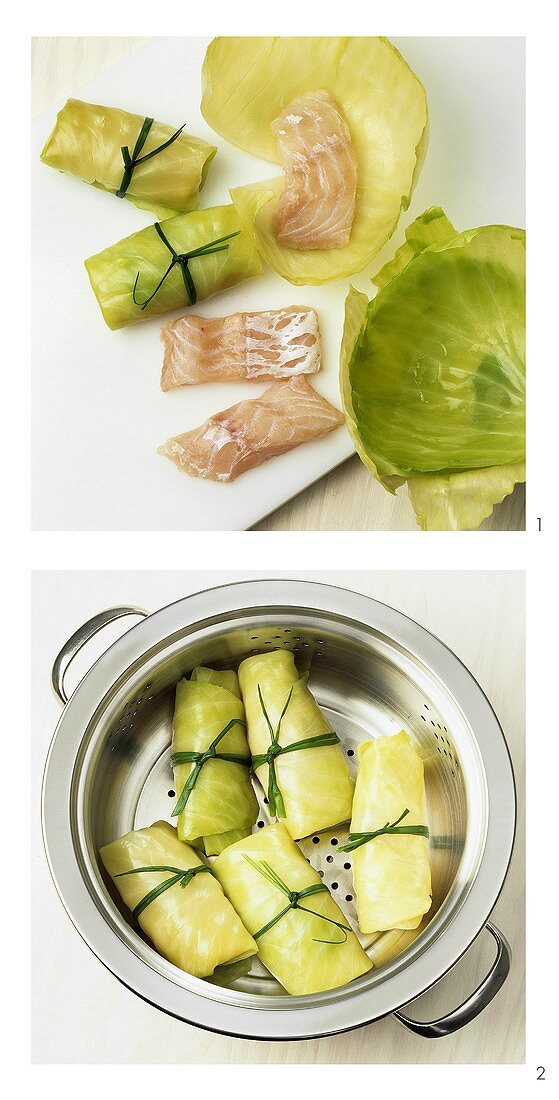 Making white cabbage rolls with salmon
