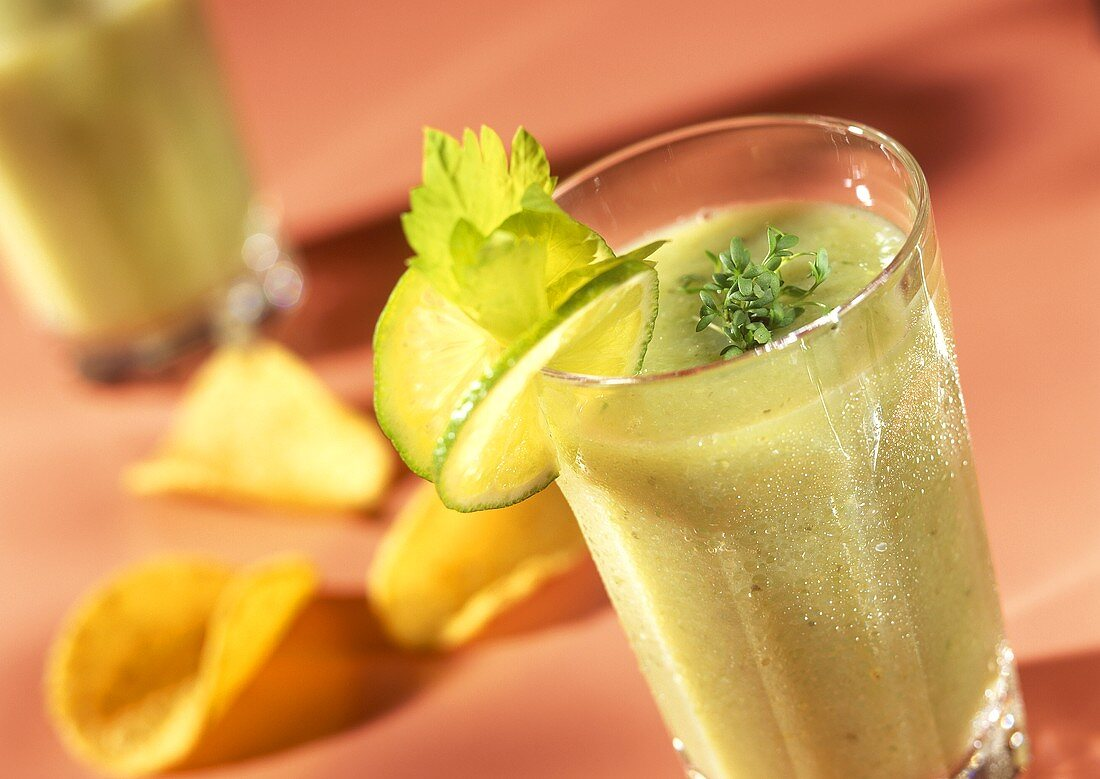 Vegetable smoothie with cucumber, celery and cress