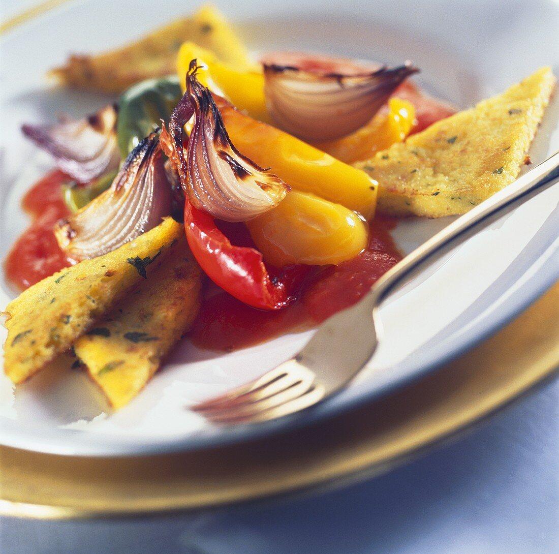 Polenta fritta con peperoni e cipolle (Polenta with vegetables)
