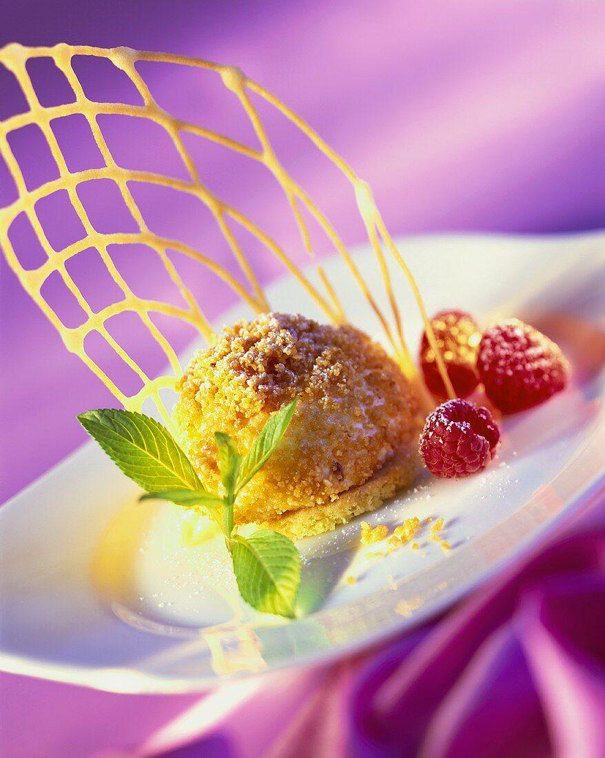 Praline balls with raspberries and wafer lattice