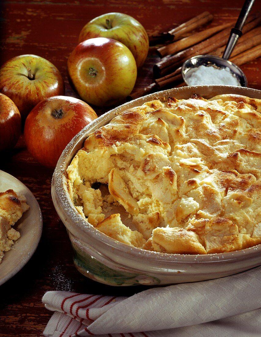 Quark apple pudding in baking dish