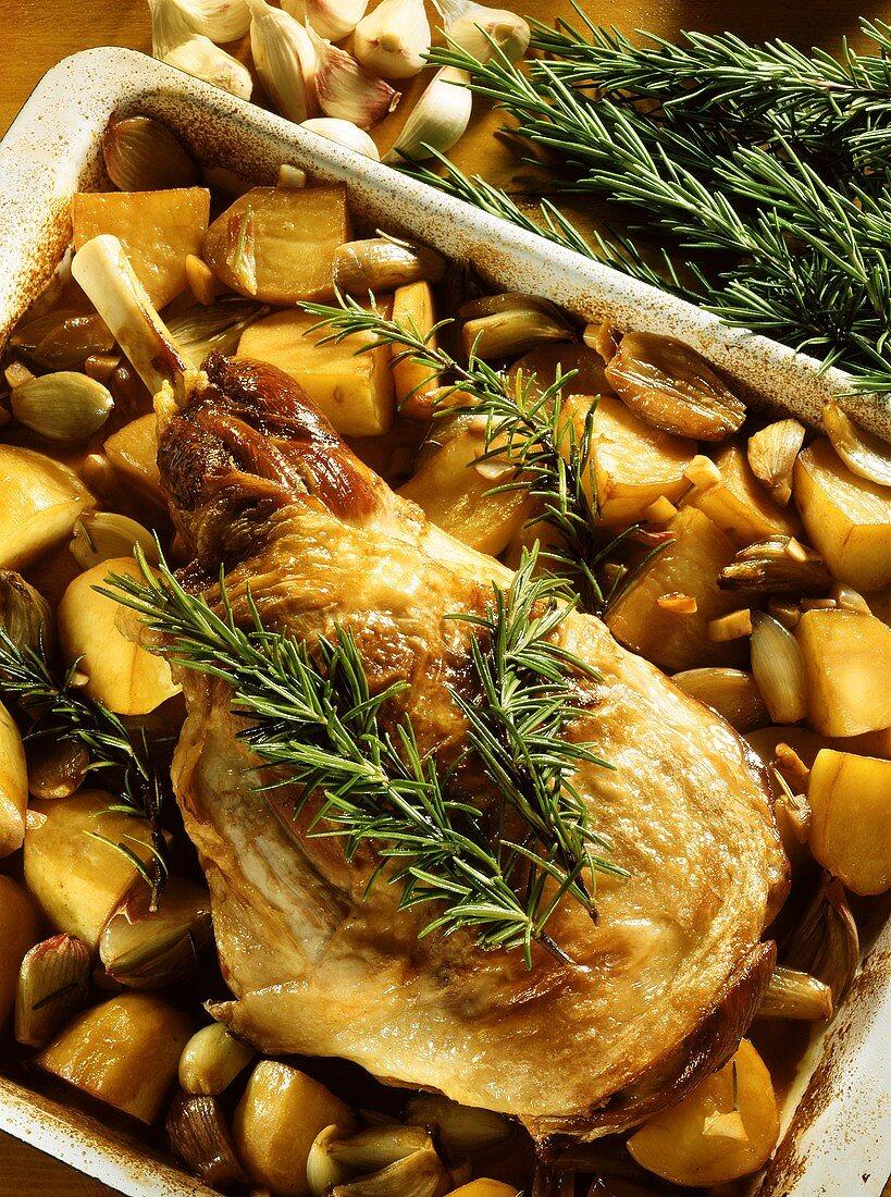 Abbacchio al forno (roast suckling lamb, Italy)