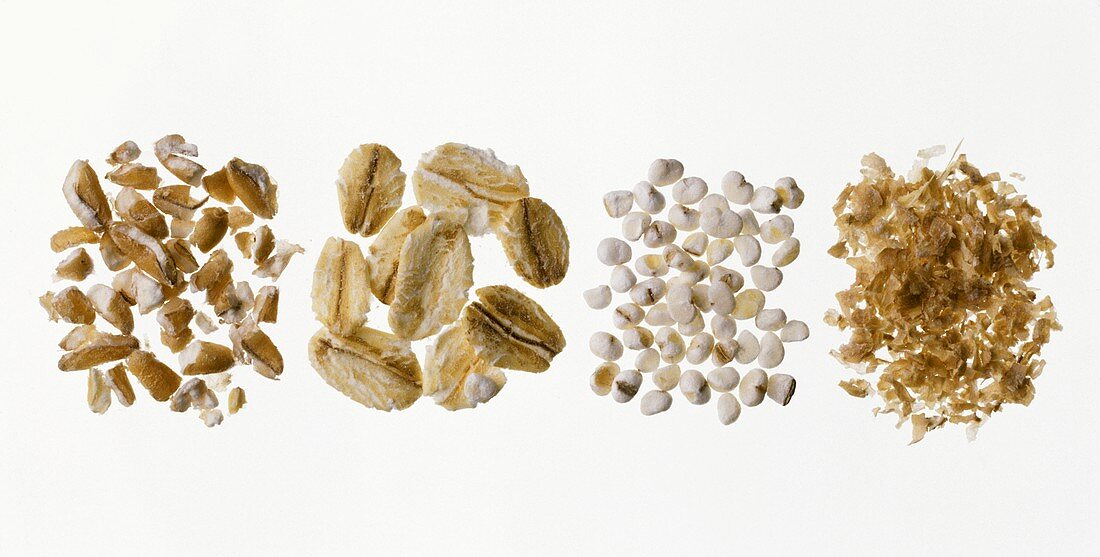 Coarsely ground cereals, oat flakes, pearl barley & bran