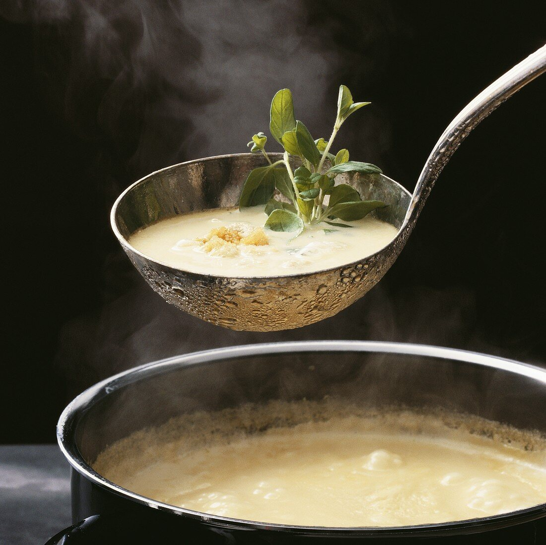 Steaming cream soup with croutons on ladle above pot