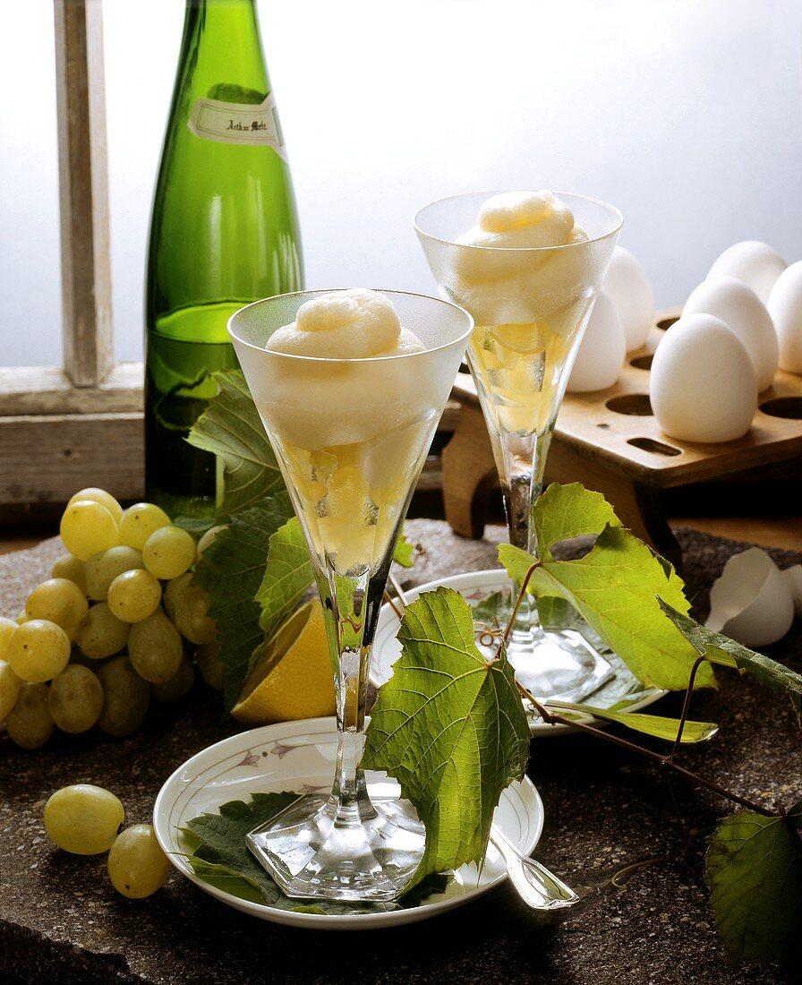 Grape and Riesling sorbet in glasses; ingredients