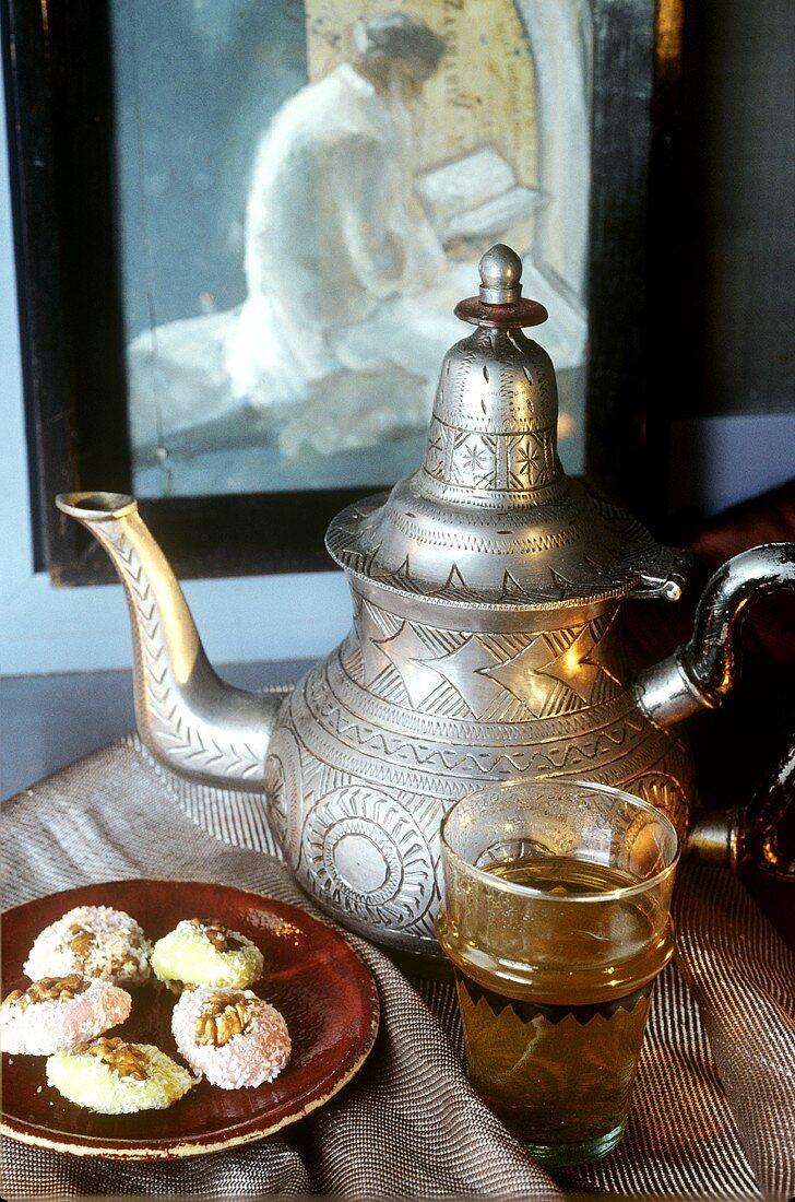 Arabian tea scene with sweet pastries