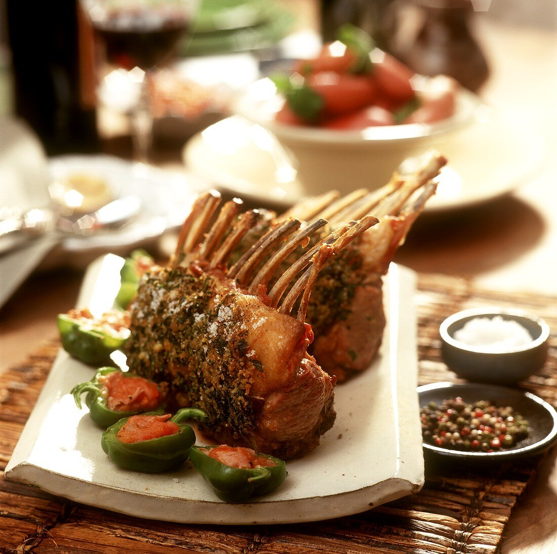 Lamb chop with herb crust and stuffed peppers