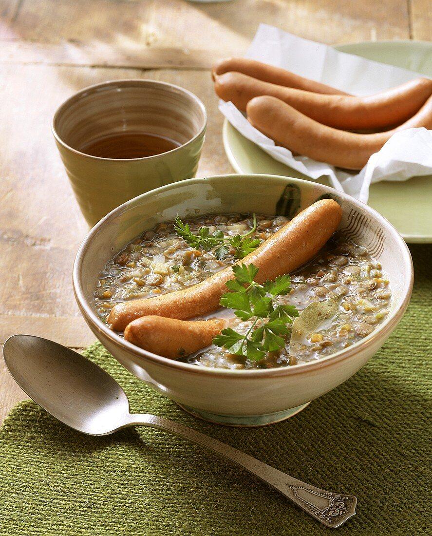 Lentil soup with Frankfurter sausage