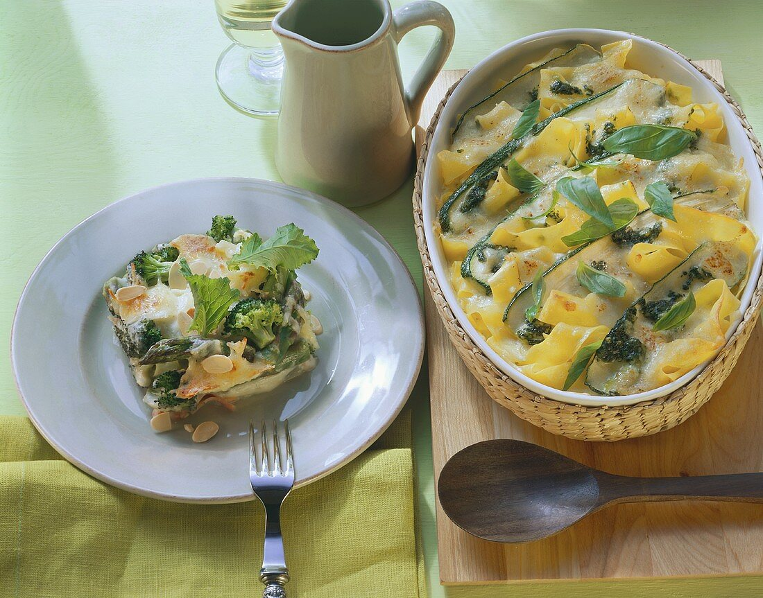 Courgette and pasta bake; vegetable casserole with ham