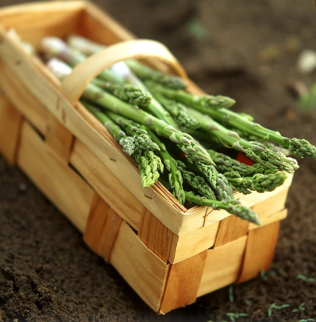 Green asparagus in a chip basket