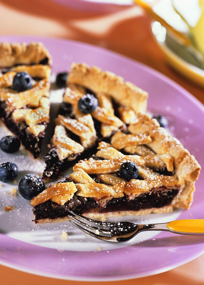Blueberry tart with icing sugar on plate