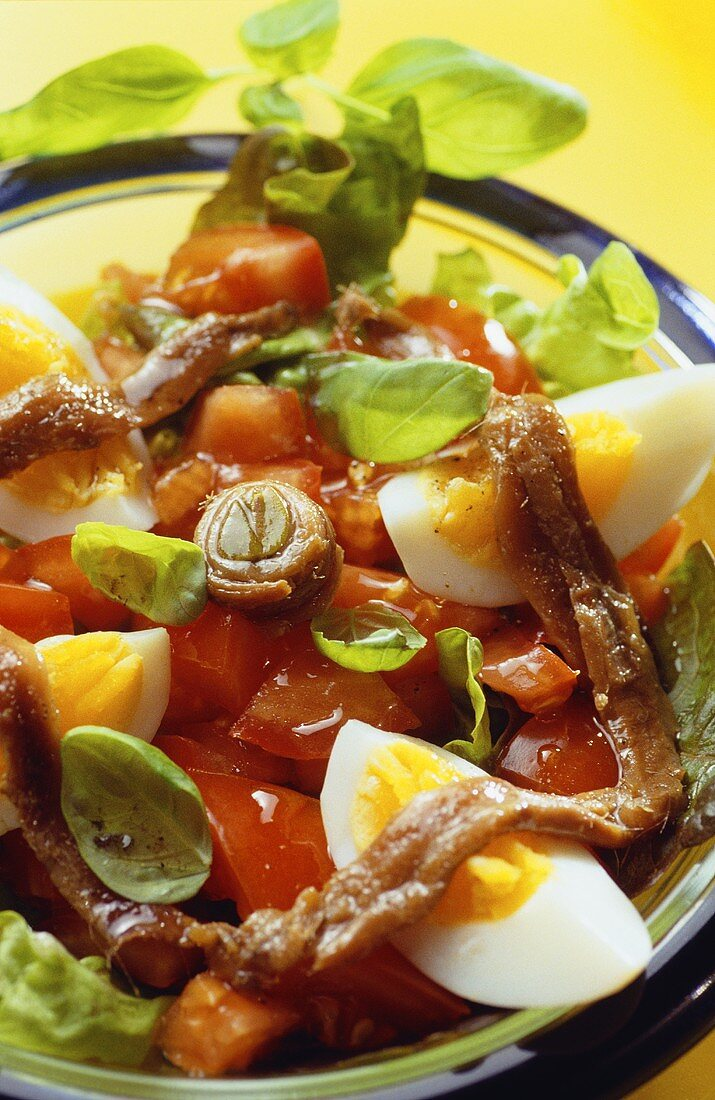 Insalata locale (tomato, egg and anchovy salad)