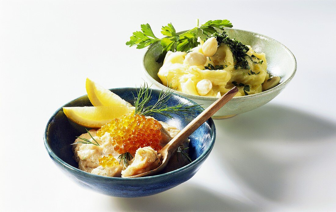 Taramasalata and potato and garlic paste from Greek