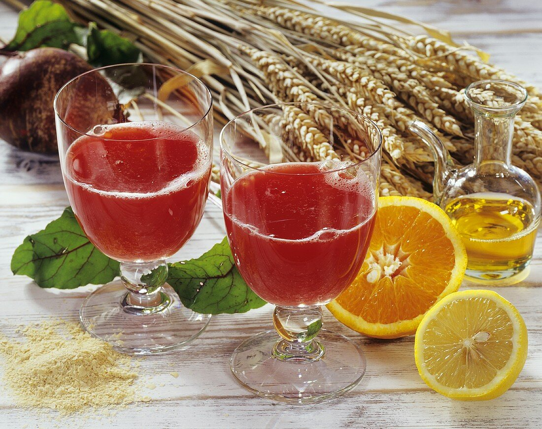 Vegetable drink with beetroot, carrots and citrus fruits