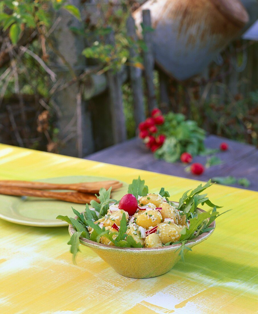 Potato & radish salad with rocket on table in open air