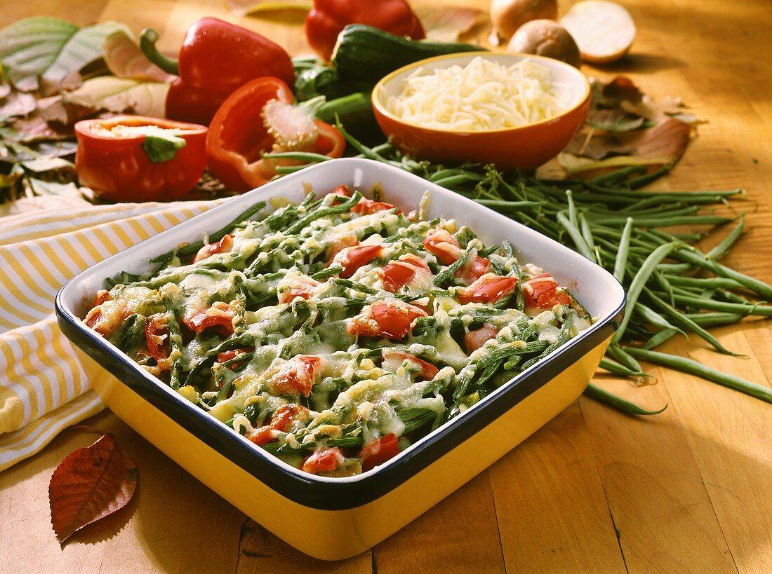 Autumn vegetable gratin in baking dish
