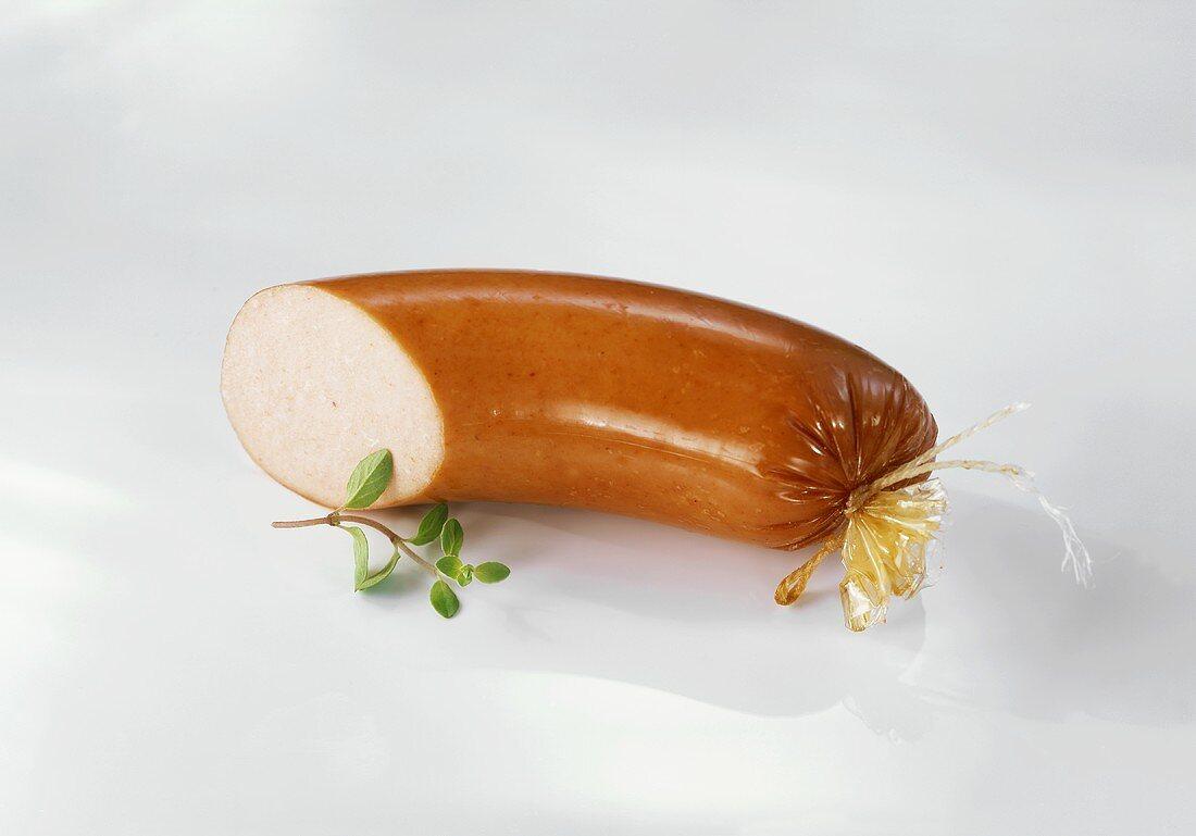 Mettwurst (pork sausage) slices cut