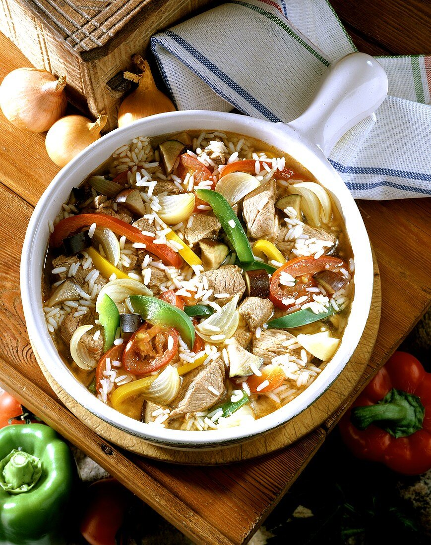 Serbian national dish: Djuvec with rice, lamb and vegetables