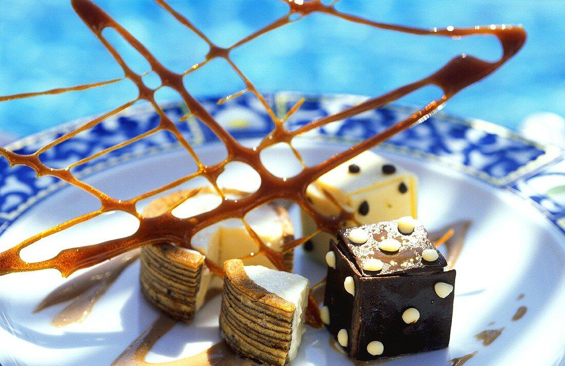 Palm sugar dessert with caramel lattice from Bali