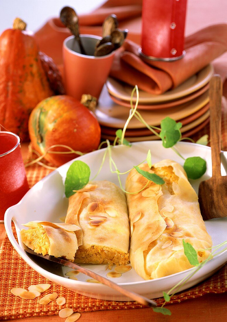 Hearty pumpkin strudel with almonds