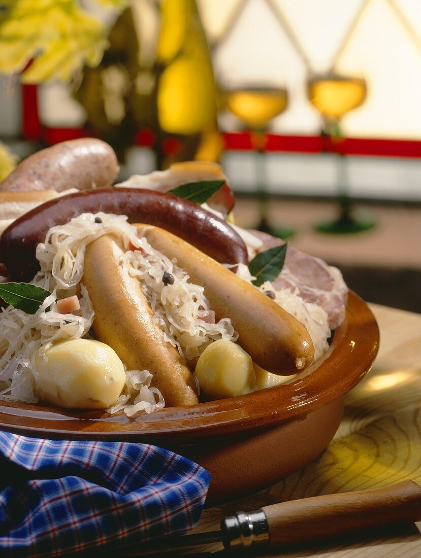 Meat platter with sauerkraut and potatoes from Alsace