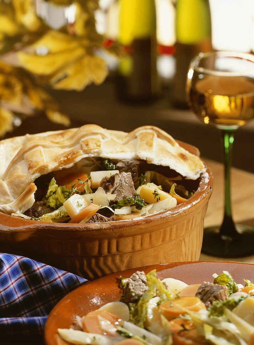 Baeckeoffe (meat & vegetable stew with pastry topping,Alsace 1)