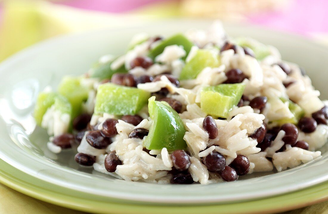 Rice with beans and green pepper
