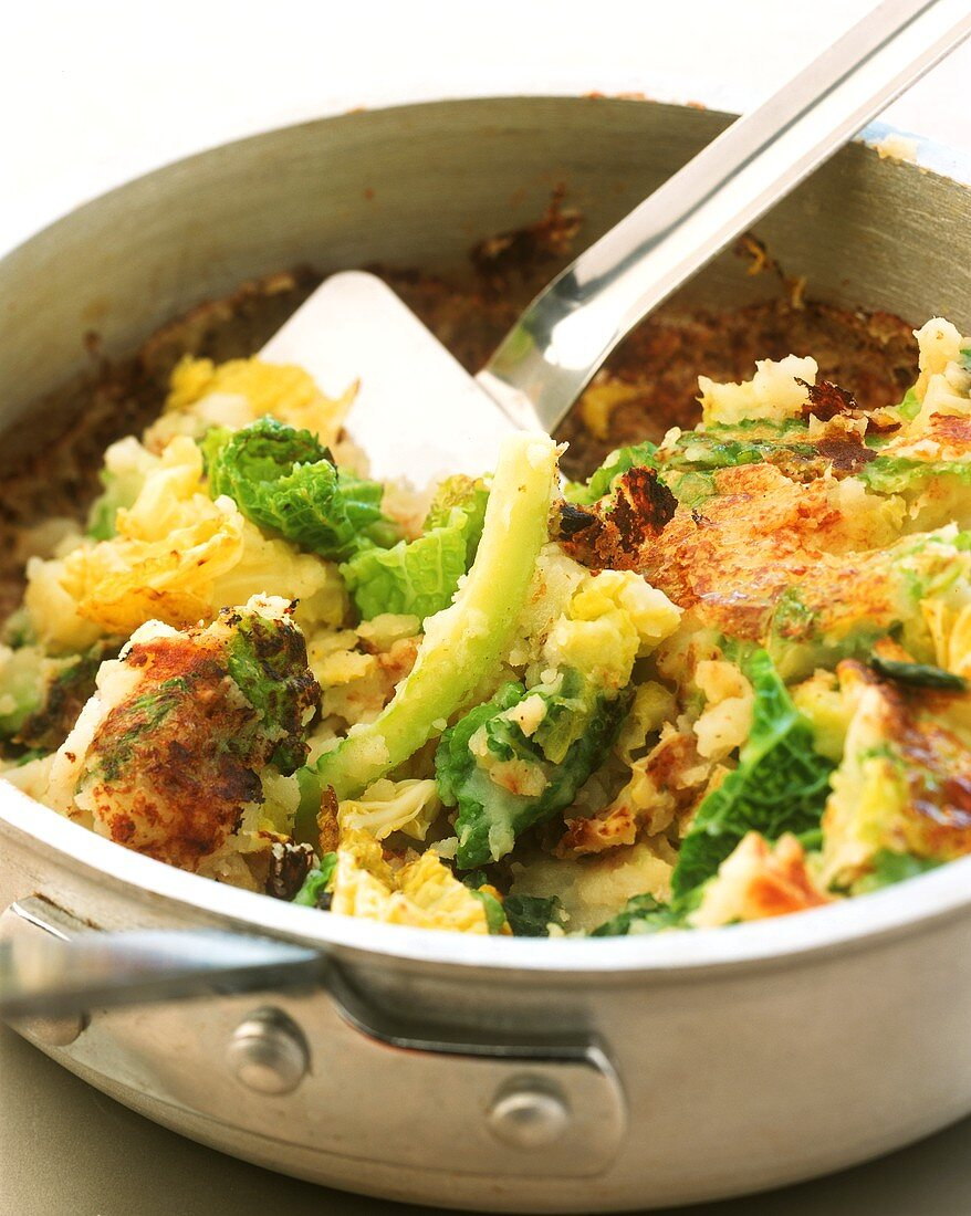 Bubble and squeak (English savoy and potato dish) in frying pan