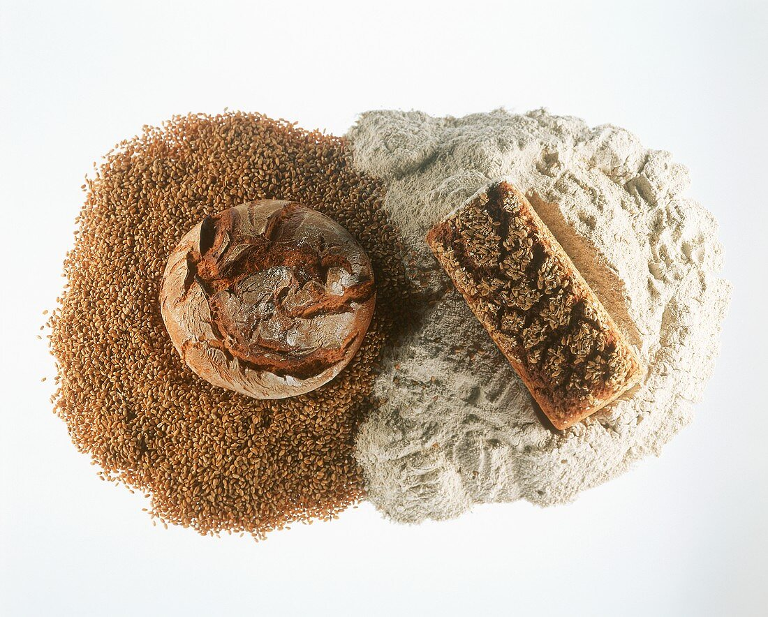 Wholemeal breads with cereals and flour
