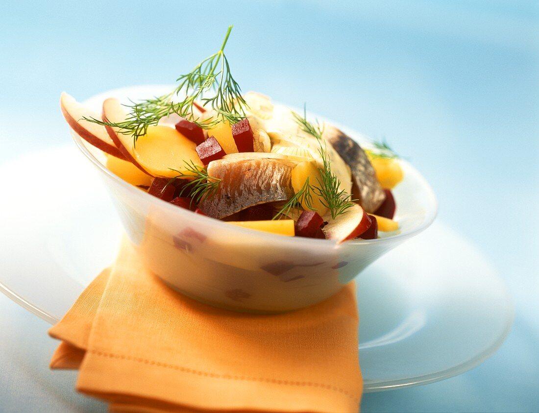Scandinavian matje herring salad with potatoes & beetroot