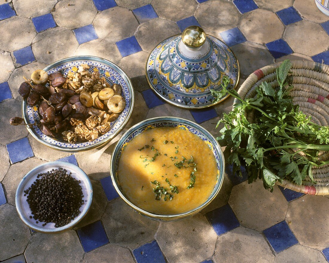 Harira: Moroccan lentil soup with dried fruit