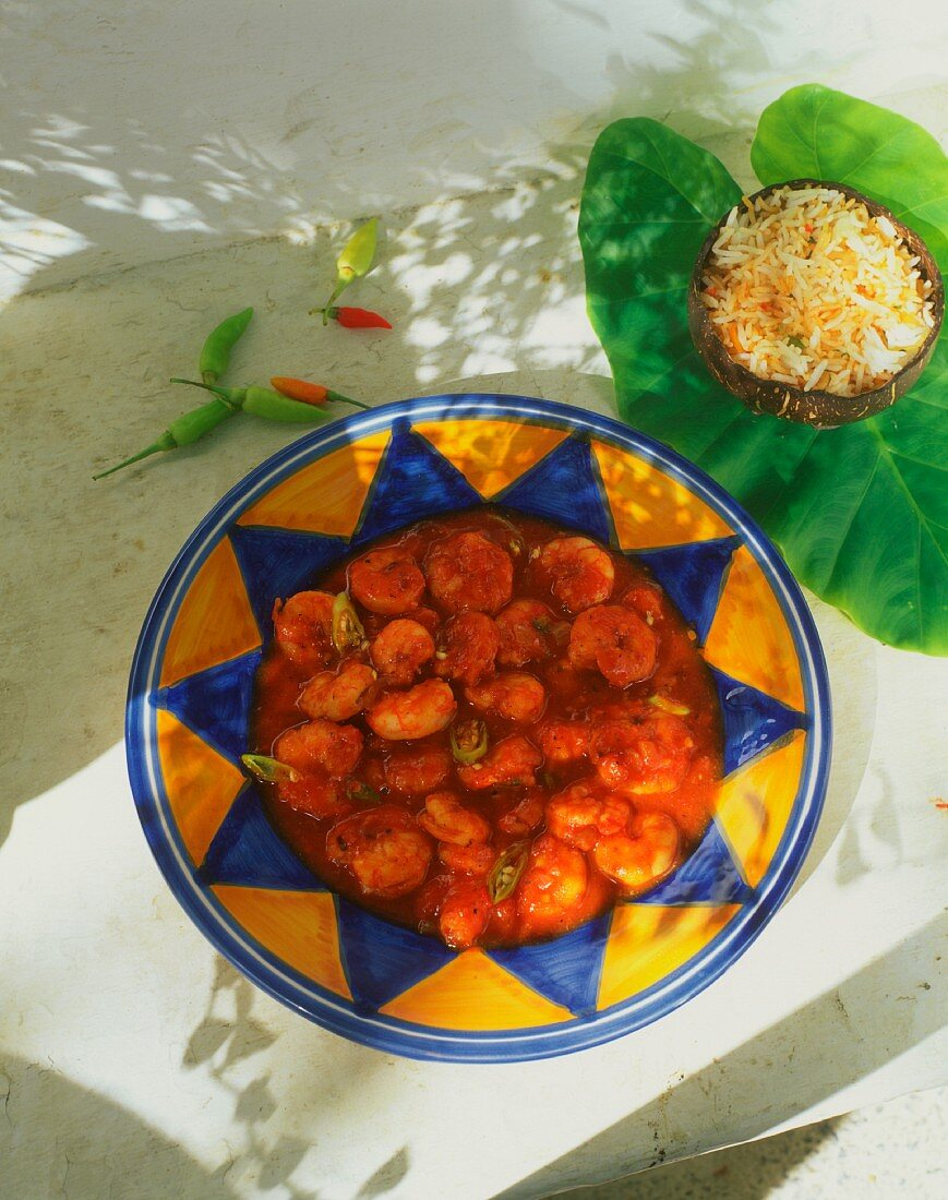Shrimps in spicy chili sauce from the Seychelles