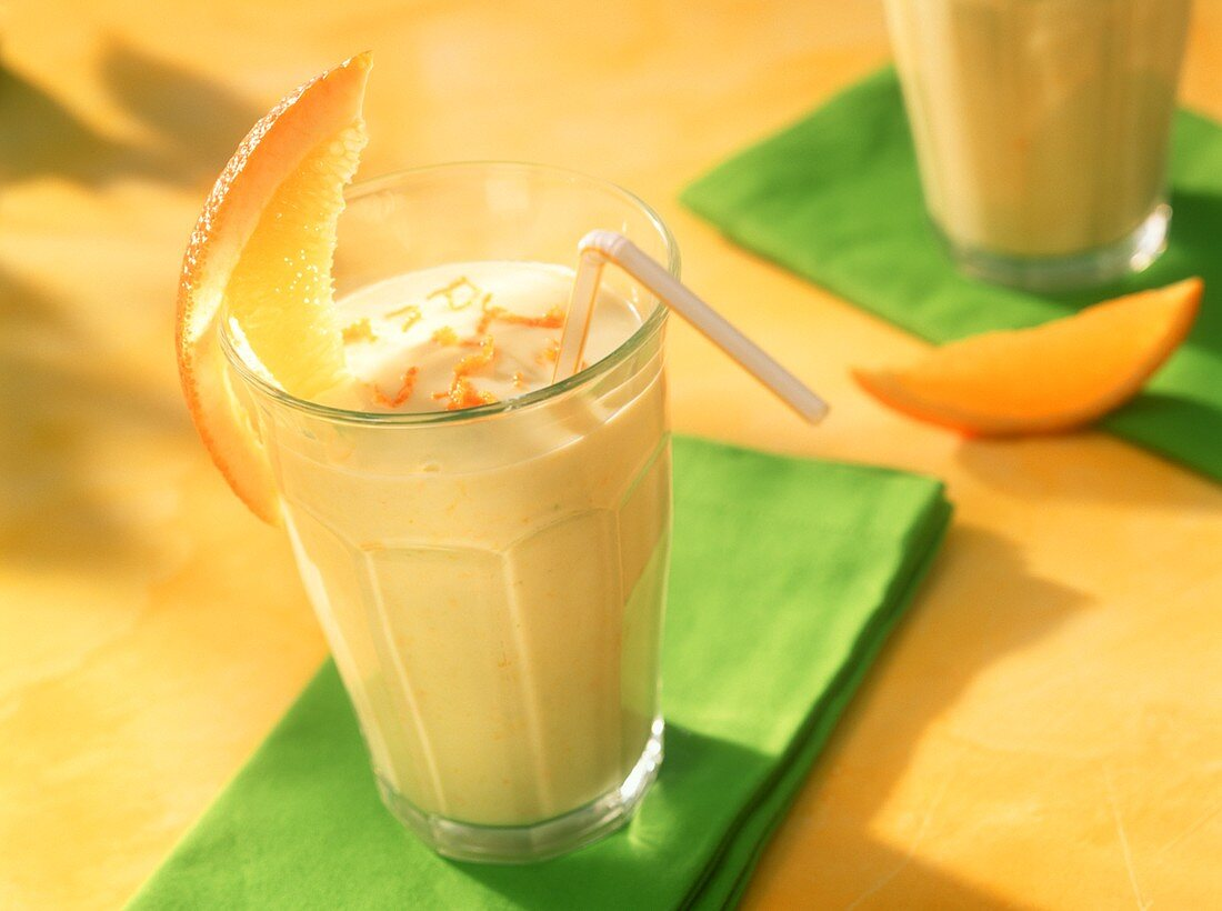Orange and avocado shake with buttermilk