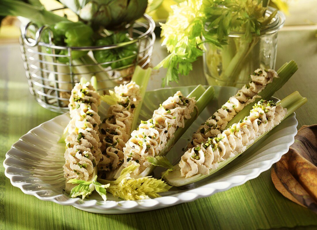 Celery with cheese mousse