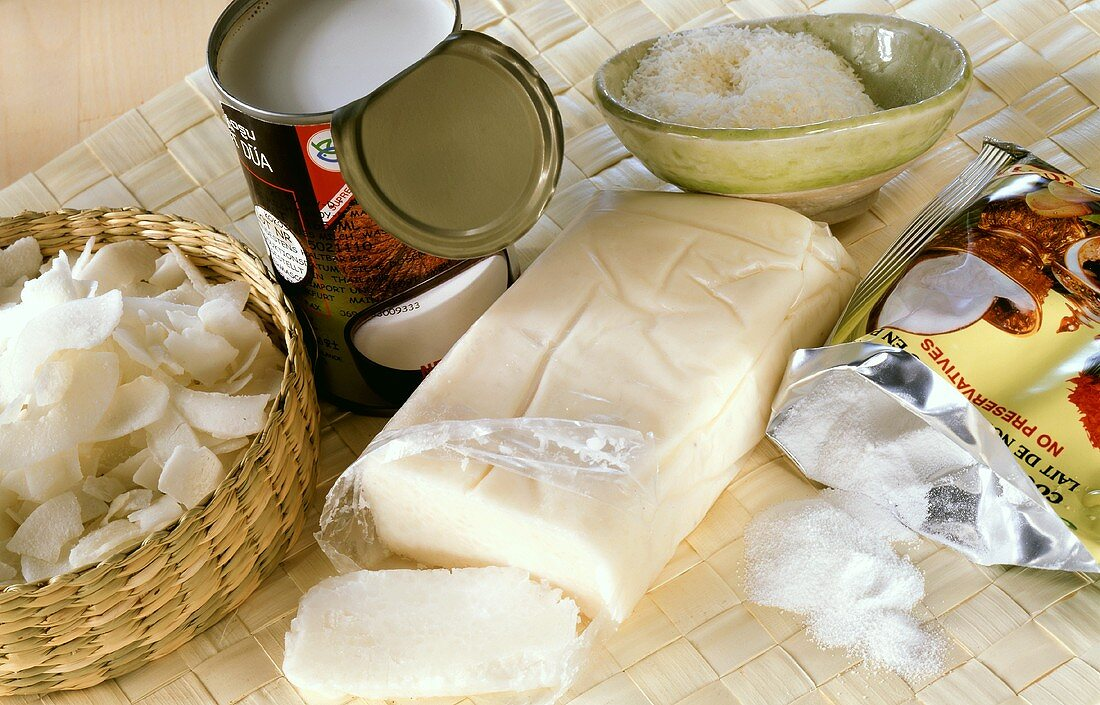 Various coconut products (cream, grated, milk, powdered)
