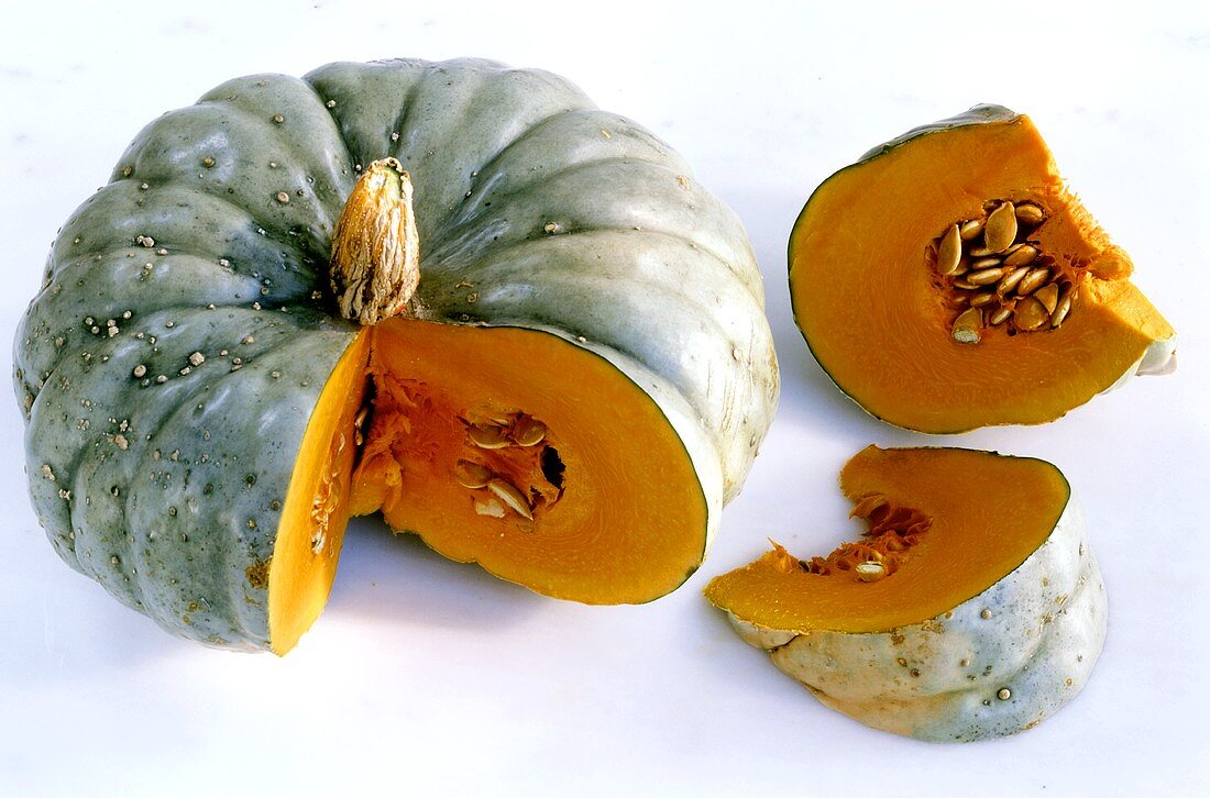 Pumpkin, Blue Hubbard variety, a piece cut off