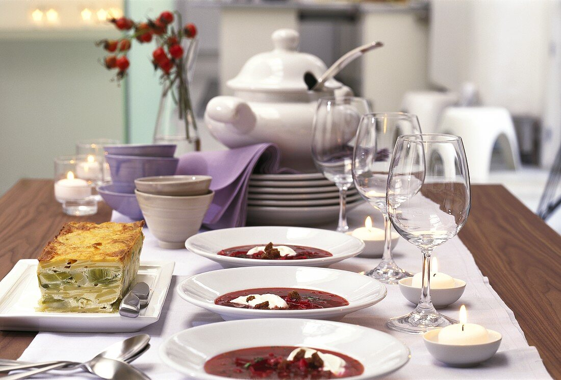 Buffet with Russian leek terrine and beetroot soup